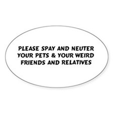 Spay & Neuter Oval Bumper Stickers