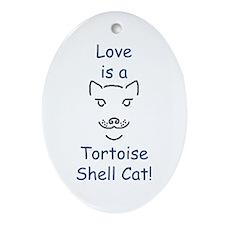 Tortoise Shell Cat Oval Ornament