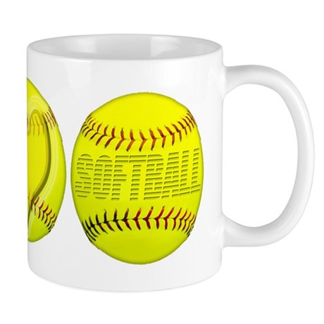 Peace, Love, Softball Mug