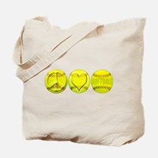 Peace, Love, Softball Tote Bag