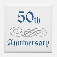 Elegant 50th Anniversary Tile Coaster
