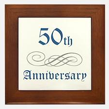 Elegant 50th Anniversary Framed Tile