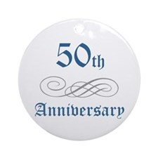 Elegant 50th Anniversary Ornament (Round)