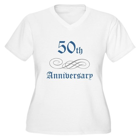 Elegant 50th Anniversary Women's Plus Size V-Neck