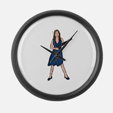 Shotgun Woman 2 Large Wall Clock