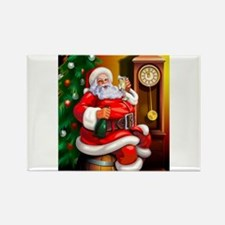 Champagne Santa Rectangle Magnet