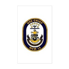 USS Chief MCM 14 US Navy Ship Rectangle Decal