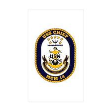 USS Chief MCM 14 US Navy Ship Rectangle Sticker 1