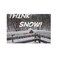 """""""Think Snow"""" Rectangle Refrigerator Magn"""