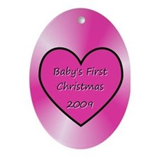 2009 Pink Heart Oval Ornament