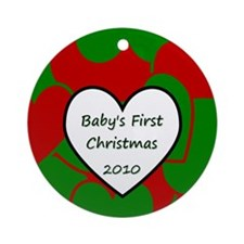 2010 Baby Christmas Heart Ornament (Round)