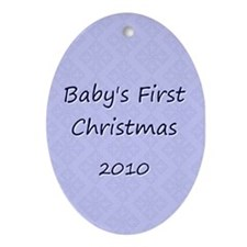 2010 Blue Pattern Oval Ornament