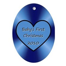 2010 Blue Heart Oval Ornament