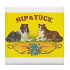 Nip & Tuck Collie Dogs Vintage Art Tile Coaste