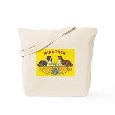 Nip & Tuck Collie Dogs Vintage Art Tote Bag