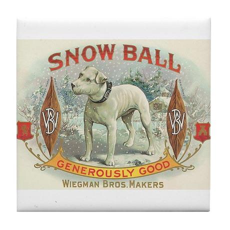 Snow Ball White Dog Vintage Art Tile Coaster