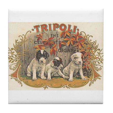 Tripoli Puppy Dogs Vintage Art Tile Coaster
