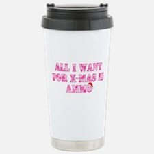 Pink Camo Ammo Xmas Stainless Steel Travel Mug