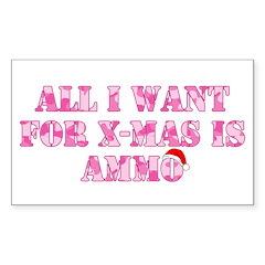 Pink Camo Ammo Xmas Rectangle Decal