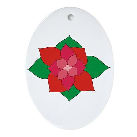 Christmas Flower Oval Ornament