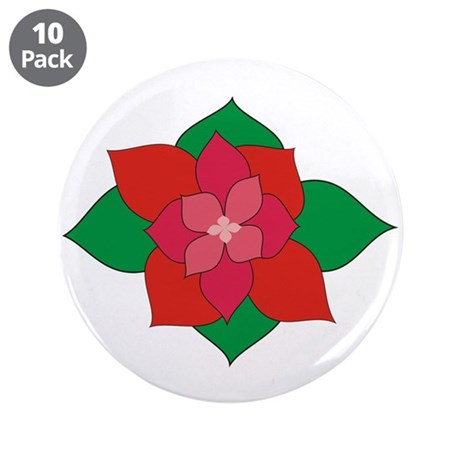 "Christmas Flower 3.5"" Button (10 pack)"