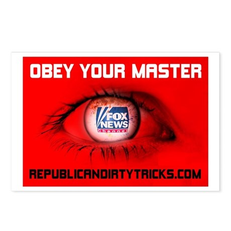 Fox News: Obey your Master Postcards (Package of 8