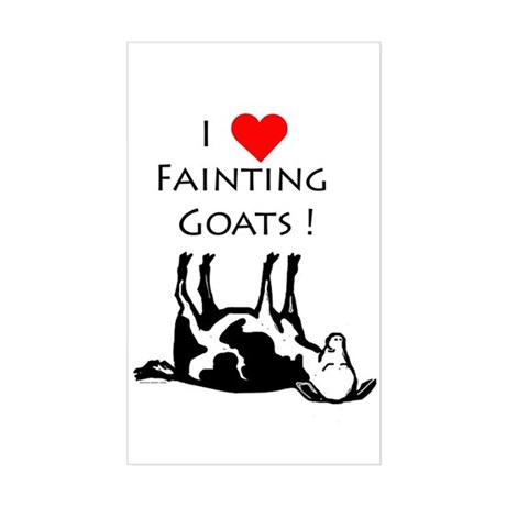 I Love Fainting Goats Rectangle Decal By POXART