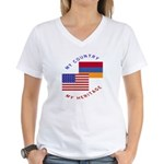 Armenia USA Flag Heritage Women's V-Neck T-Shirt