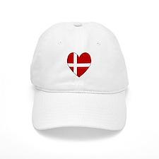 Danish Flag Heart Baseball Cap