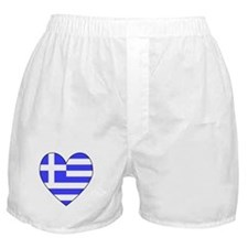 Greek Flag Heart Valentine Boxer Shorts