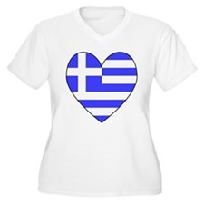 Greek Flag Heart Valentine T-Shirt
