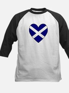 Scottish (Andrew) Flag Heart Kids Baseball Jersey