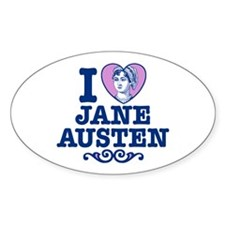 I Love Jane Austen Oval Decal