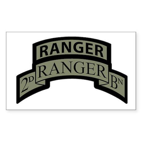2nd Ranger Bn Scroll/Tab ACU Rectangle Sticker
