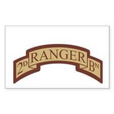 2nd Ranger Bn Scroll Desert Rectangle Decal
