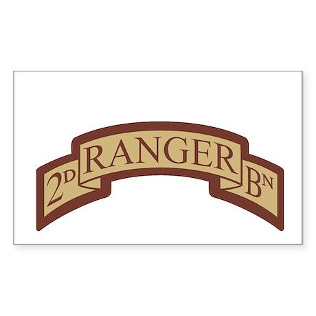 2nd Ranger Bn Scroll Desert Rectangle Sticker