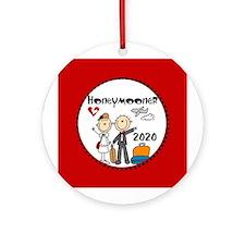 Stick Figure 2015 Honeymooner Ornament (Round) Orn
