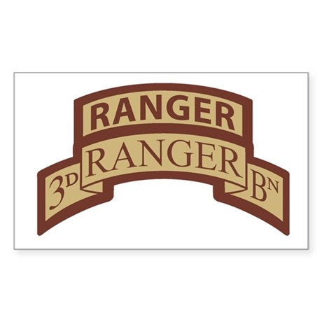 3rd Ranger Bn Scroll/Tab Dese Rectangle Sticker