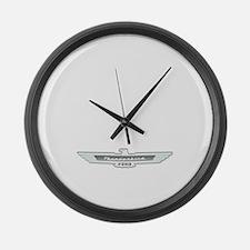 Ford Thunderbird Emblem Chrome Large Wall Clock