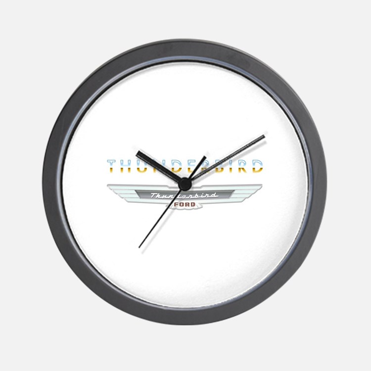 Ford Thunderbird Emblem Orange Chrome Wall Clock