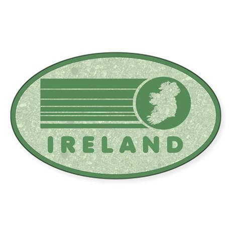 Retro Ireland Stripes Oval Sticker