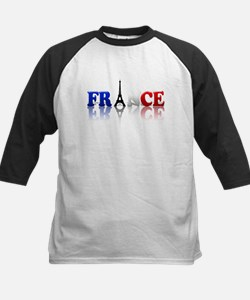 France Tricolore and Eiffel T Kids Baseball Jersey