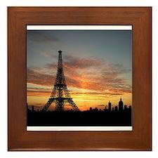Eiffel Tower Silhouette Framed Tile