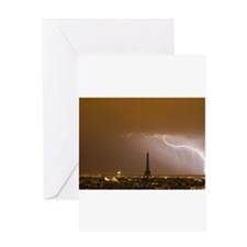 Eiffel Tower with Lightning Greeting Card