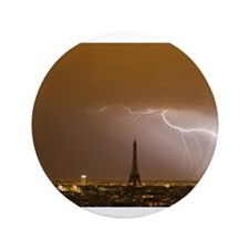 """Eiffel Tower with Lightning 3.5"""" Button"""