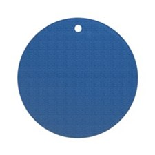 Dark Blue Linen Look Ornament (Round)
