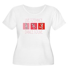 Live To Dance Red Women's Plus Size Scoop Neck T-S
