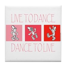 Live To Dance Red Tile Coaster