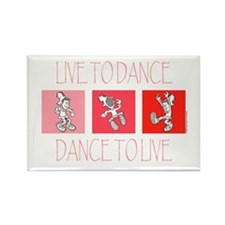 Live To Dance Red Rectangle Magnet