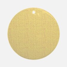 Yellow Linen Look Ornament (Round)